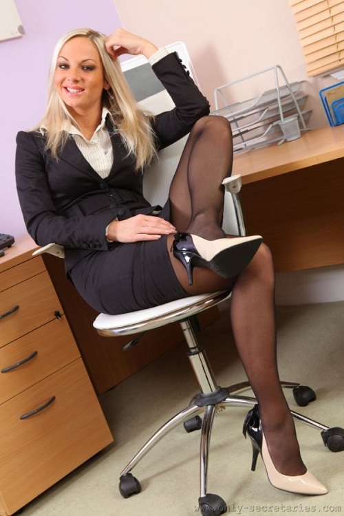 Blonde Office Girl In Pantyhose